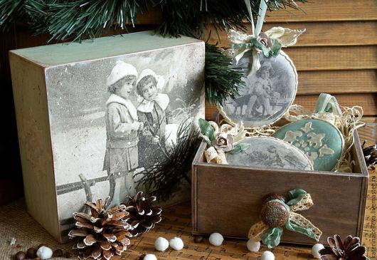 """Новый год 2017 ручной работы. Ярмарка Мастеров - ручная работа. Купить """"Старинное Рождество""""-набор елочных игрушек. Handmade. Голубой"""