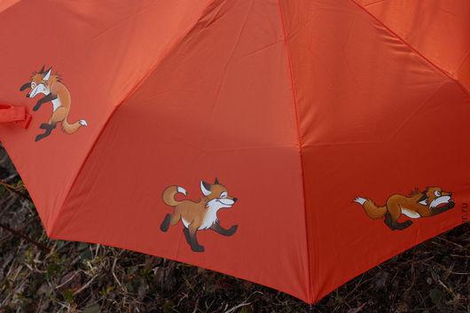 Зонты ручной работы. Ярмарка Мастеров - ручная работа. Купить Зонт Лисички. Handmade. Рыжий, дождь, роспись по ткани