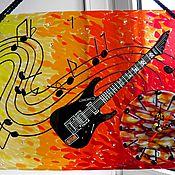 """Для дома и интерьера ручной работы. Ярмарка Мастеров - ручная работа Часы настенные """"Пой,гитарная струна"""" Фьюзинг.. Handmade."""