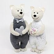 Подарки ручной работы. Ярмарка Мастеров - ручная работа Подарок на серебряную свадьбу - игрушка счастливые котики. Handmade.