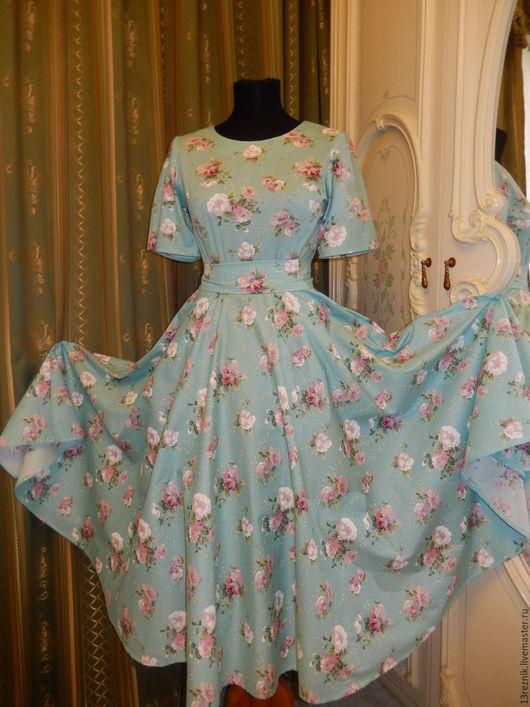 Платья ручной работы. Ярмарка Мастеров - ручная работа. Купить Платье на лето.. Handmade. Голубой, платье летнее, жаккард