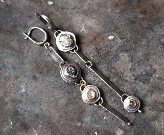 Серьги ручной работы. Ярмарка Мастеров - ручная работа. Купить WHAT A DIFFERENCE серьги ( алмазы, серебро, золото). Handmade.