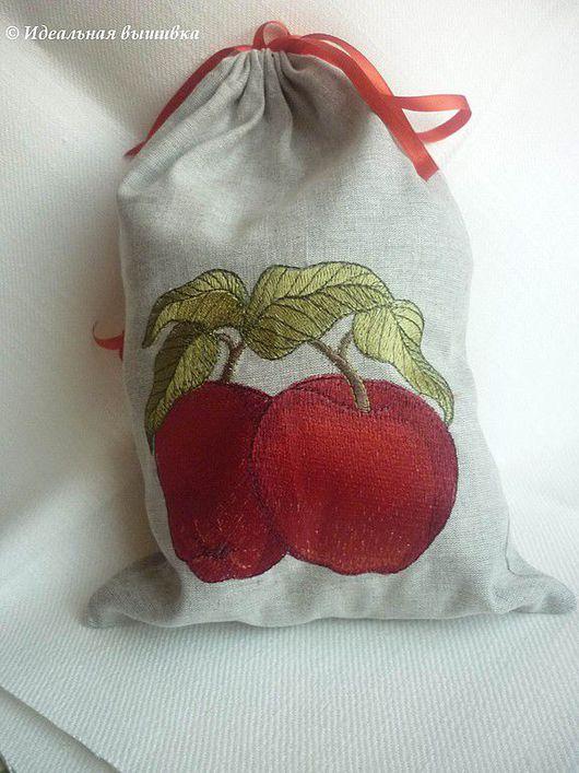 """Кухня ручной работы. Ярмарка Мастеров - ручная работа. Купить Мешочек """"Спелые яблоки"""". Handmade. Льняной мешок, мешок с вышивкой"""