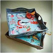 Подносы ручной работы. Ярмарка Мастеров - ручная работа Подносы  деревянные квадратные  в ассортименте. Handmade.