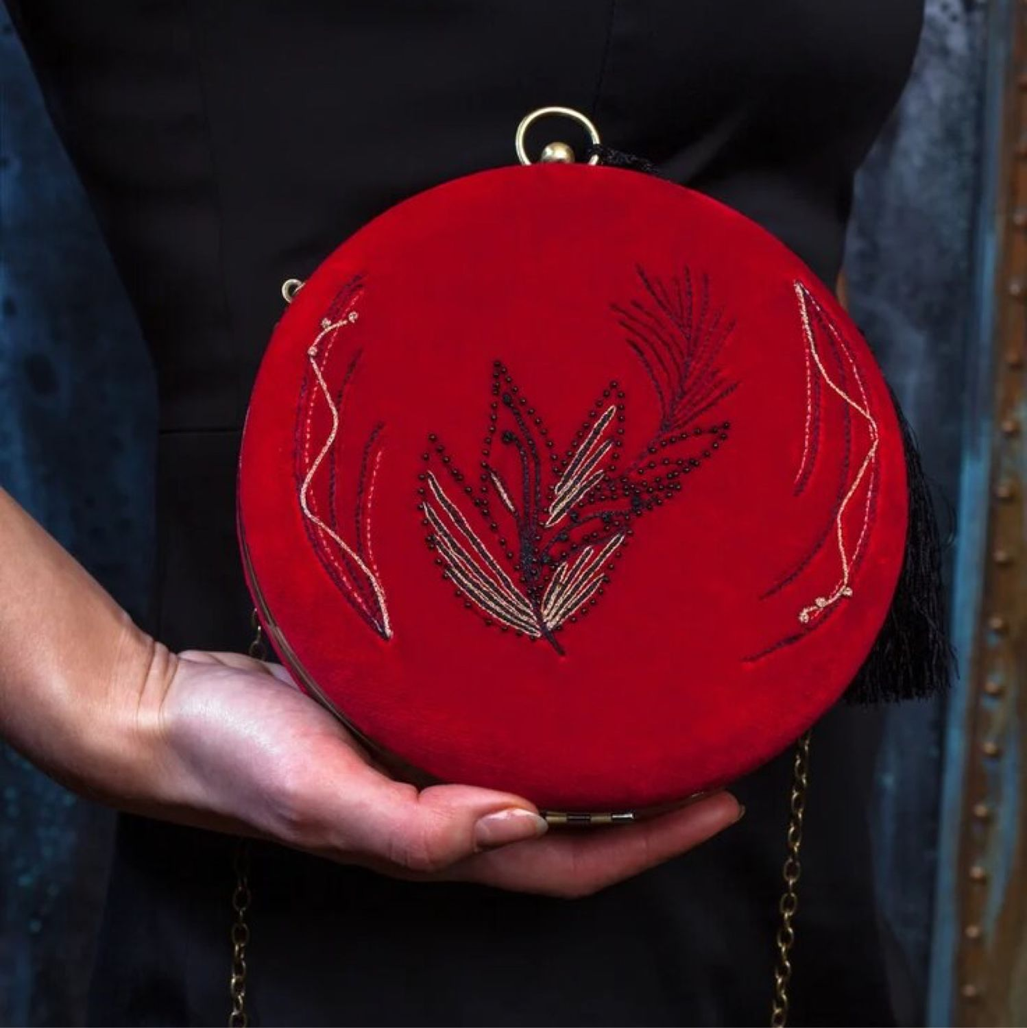 Red bag with embroidery ' McQueen Image», Crossbody bag, Moscow,  Фото №1