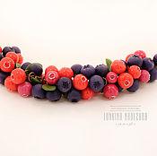 Браслет с ягодами черники и брусники из полимерной глины