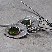 Украшения handmade. Livemaster - original item Earrings with green tourmaline by verdelite, silver and copper. Handmade.