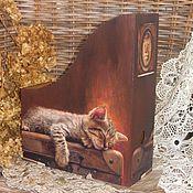 """Канцелярские товары ручной работы. Ярмарка Мастеров - ручная работа Журнальница   """"Сны чемоданного кота"""". Handmade."""