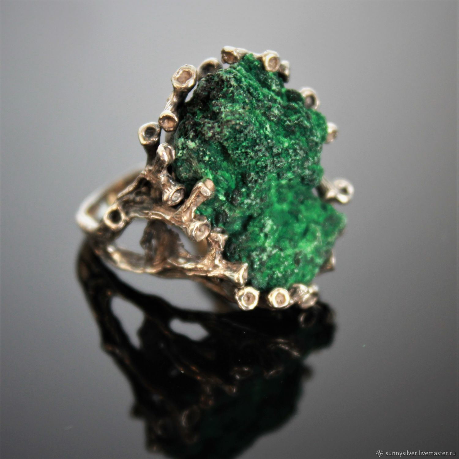 Meia ring in 925 sterling silver with corduroy malachite, Rings, Yerevan,  Фото №1