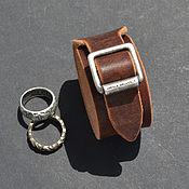 Аксессуары ручной работы. Ярмарка Мастеров - ручная работа Кожаный браслет с литой пряжкой. Handmade.