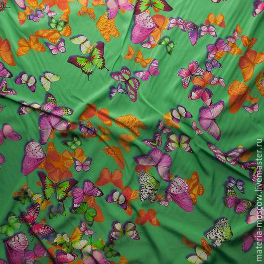 """Шитье ручной работы. Ярмарка Мастеров - ручная работа. Купить Крепдешин-стретч """"Бабочки"""" (зеленый). Handmade. Зеленый, крепдешин, шелк"""