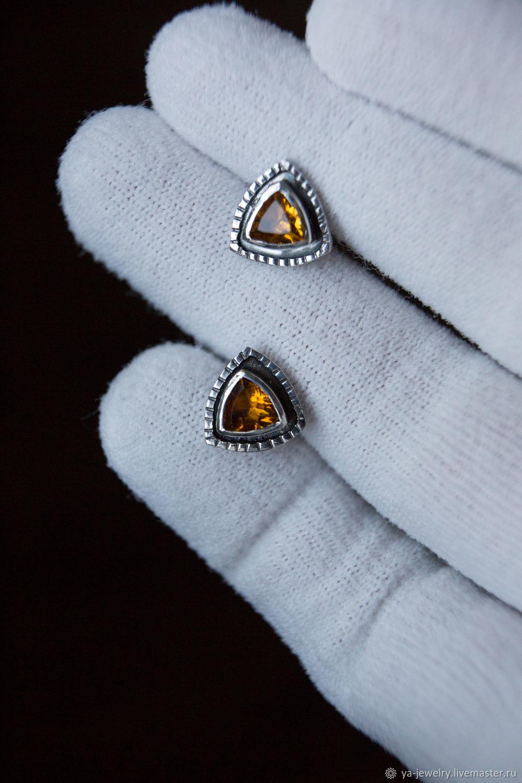 Citrine Earrings, Stud earrings, Surgut,  Фото №1
