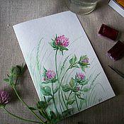 Открытки handmade. Livemaster - original item postcard ... And summer colors clover..... watercolor.. Handmade.