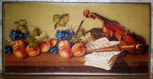 """Кухня ручной работы. Ярмарка Мастеров - ручная работа. Купить Разделочная доска панно """"Натюрморт со скрипкой"""". Handmade. Разноцветный"""