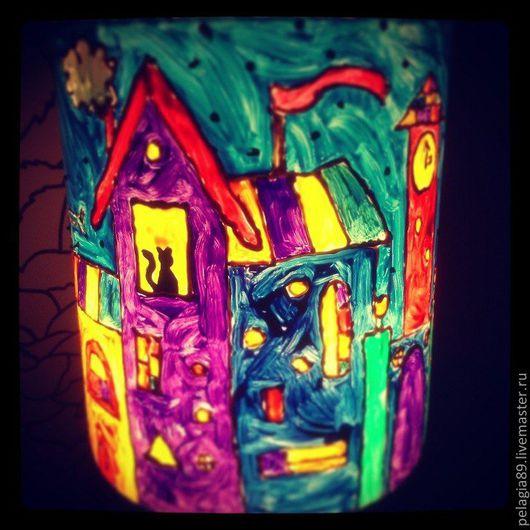 """Освещение ручной работы. Ярмарка Мастеров - ручная работа. Купить Светильник """"Сказочный городишко"""". Handmade. Витраж, спальня, дома"""