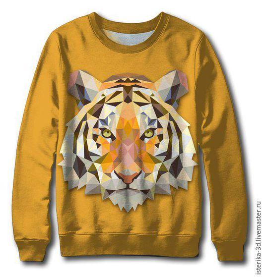 """Кофты и свитера ручной работы. Ярмарка Мастеров - ручная работа. Купить Свитер с принтом """"Векторный тигр"""" - подарок на все случаи жизни. Handmade."""