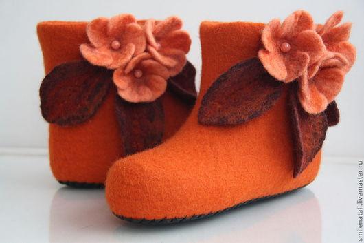 """Обувь ручной работы. Ярмарка Мастеров - ручная работа. Купить Короткие домашние валенки """"Рыжики"""". Handmade. Рыжий"""