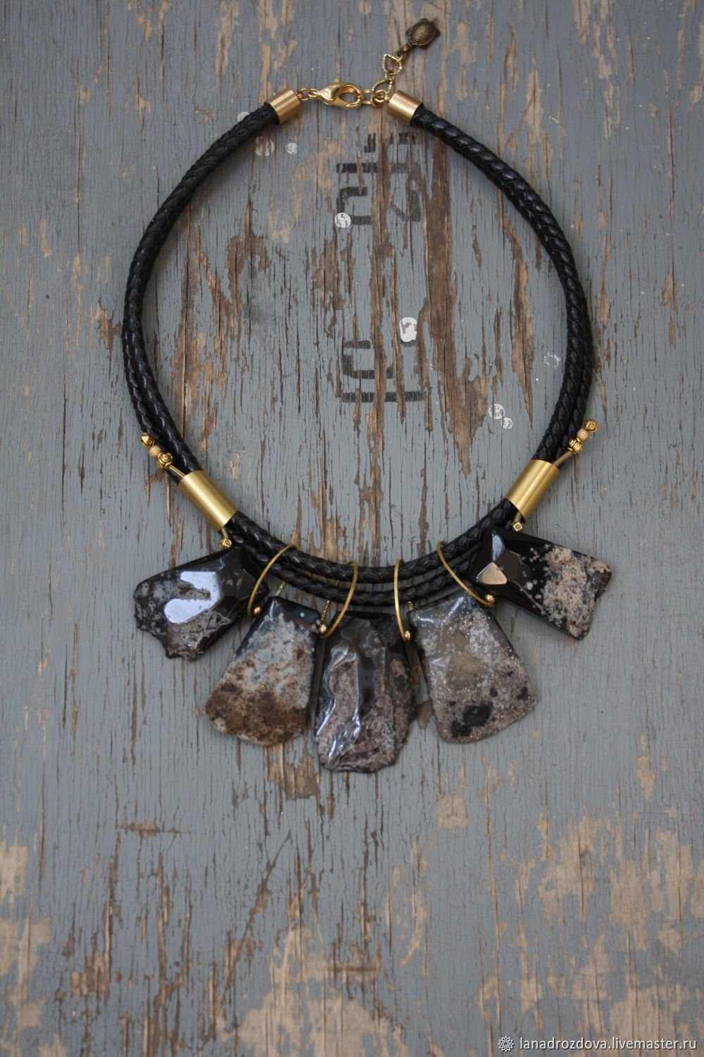 Necklace 'brownie' with agate on black cord, Necklace, Almaty,  Фото №1