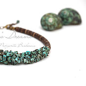 Украшения handmade. Livemaster - original item Chalker African turquoise, green brown coconut Jasper short necklace. Handmade.