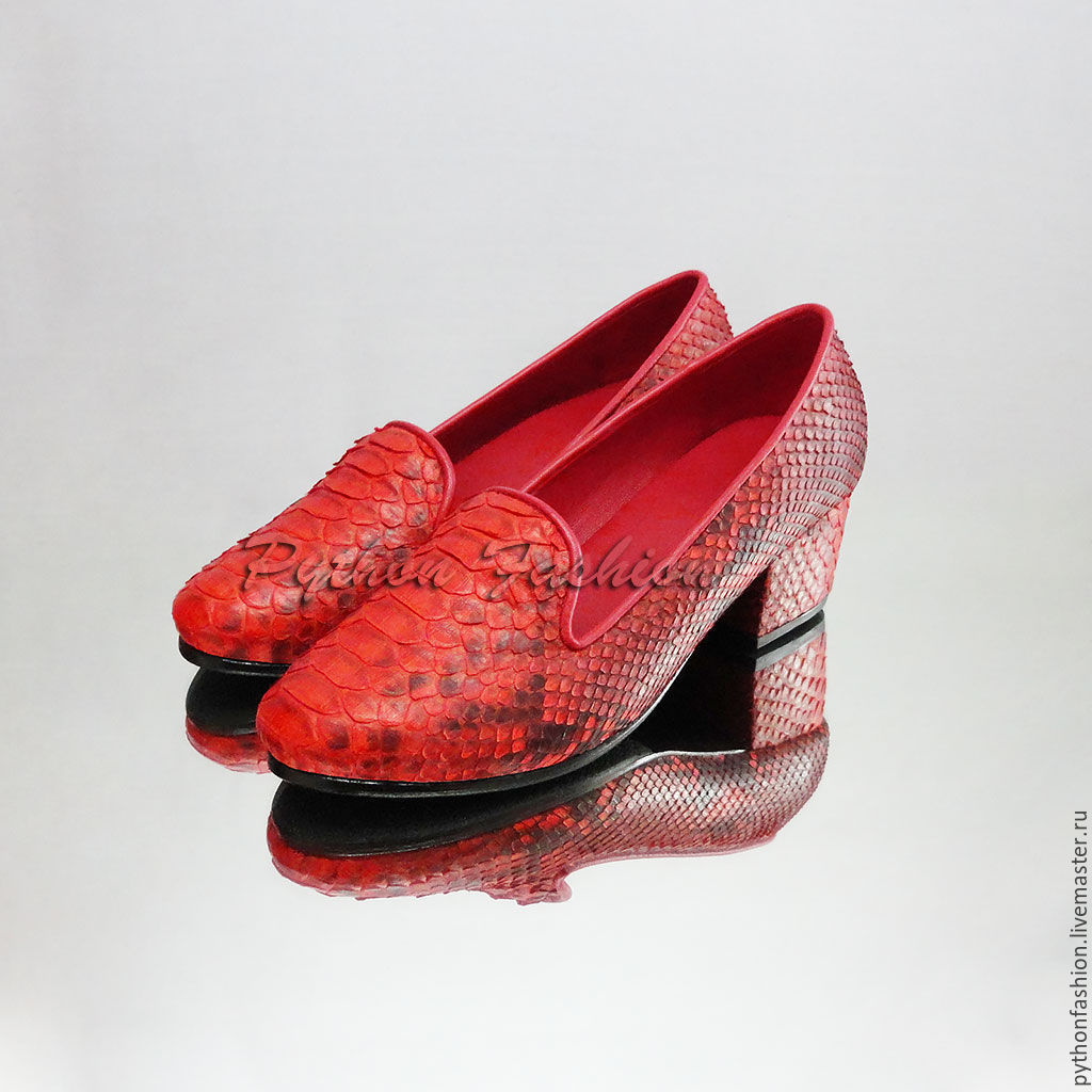 Loafers from Python. Bright loafers Python skin low heels. Fashionable women's loafers in Python. Copyright women's shoes from Python handmade. Comfortable loafers from Python Lightweight loafers in P