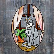 """Картины и панно ручной работы. Ярмарка Мастеров - ручная работа Витраж подвеска """"Любимое котэ"""". Handmade."""