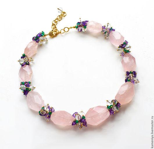 Колье, бусы ручной работы. Ярмарка Мастеров - ручная работа. Купить Ожерелье из розового кварца, аметиста, хрусталя и хризопраза. Handmade.