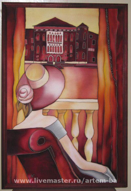 """Люди, ручной работы. Ярмарка Мастеров - ручная работа. Купить Панно """"У открытого балкона"""". Handmade. Панно на шёлке"""