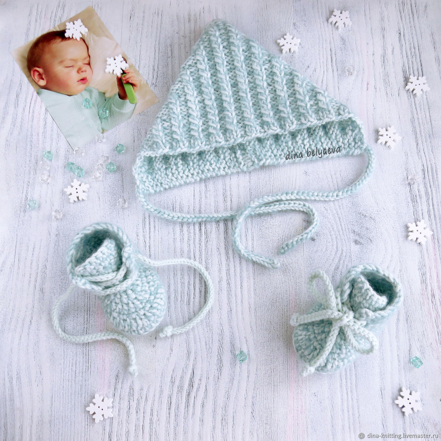 Winter knitted set of beanie and booties for boy grey, For Newborns handmade, Cheboksary, Фото №1