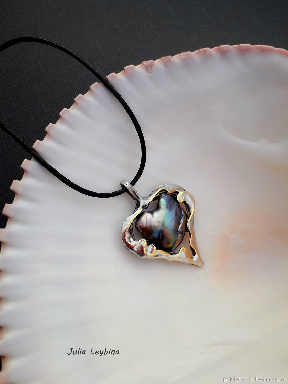 Pearl Heart Pendant, heart pendant with Baroque pearl, Pendant, Nizhnij Tagil,  Фото №1
