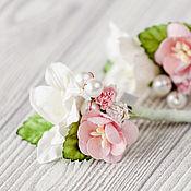 """Украшения ручной работы. Ярмарка Мастеров - ручная работа заколка """"Клубничное мороженое"""" розовое цветочное украшение для волос. Handmade."""