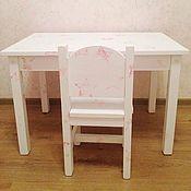 """Для дома и интерьера ручной работы. Ярмарка Мастеров - ручная работа Детский стол и стульчик """"белые звёздные"""". Handmade."""