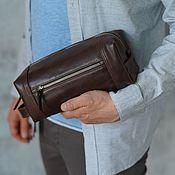 handmade. Livemaster - original item Men`s toiletry case made of genuine leather (Tobacco). Handmade.