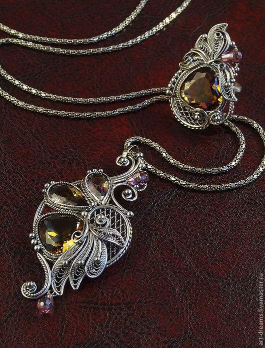 """Кулоны, подвески ручной работы. Ярмарка Мастеров - ручная работа. Купить Кулон и кольцо """" Лепестки моего сердца """". Handmade."""