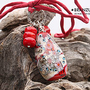 Украшения handmade. Livemaster - original item Solar serenade - pendant lampwork Branzuletka - red gray turquoise. Handmade.