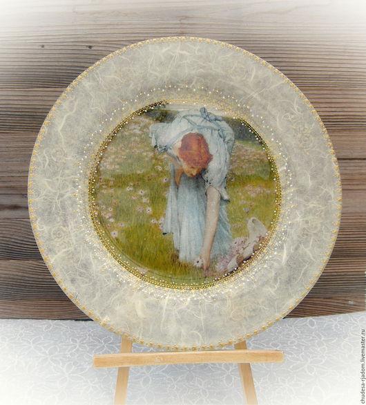 Декоративная посуда ручной работы. Ярмарка Мастеров - ручная работа. Купить Тарелка декоративная Девушка в голубом платье. Handmade. Комбинированный