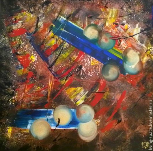 Абстракция ручной работы. Ярмарка Мастеров - ручная работа. Купить Внутреннее пространство. Handmade. Комбинированный, золотой цвет, яркое украшение
