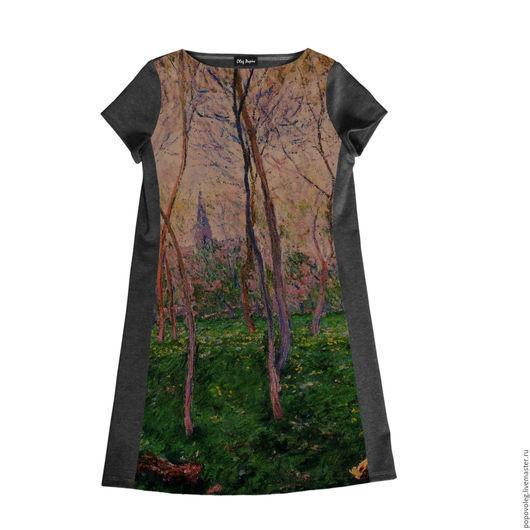"""Платья ручной работы. Ярмарка Мастеров - ручная работа. Купить Платье с картиной Моне """"Бенекур"""". Handmade. Серый, лес"""