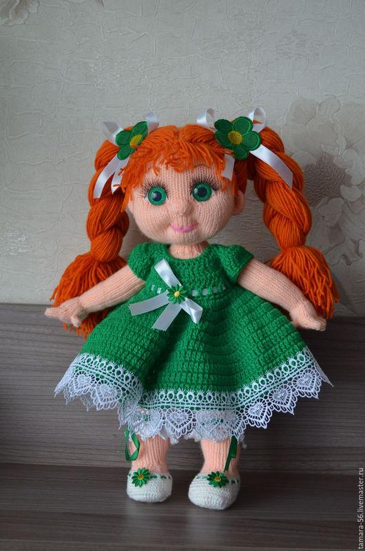"""Человечки ручной работы. Ярмарка Мастеров - ручная работа. Купить Кукла вязаная """"Алиса"""". Handmade. Зеленый, подарок для девочки, синтепух"""
