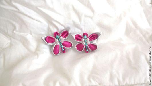 Заколки ручной работы. Ярмарка Мастеров - ручная работа. Купить Бабочка  в технике  КАНЗАШИ. Handmade. Фуксия, бабочка, заколка для волос