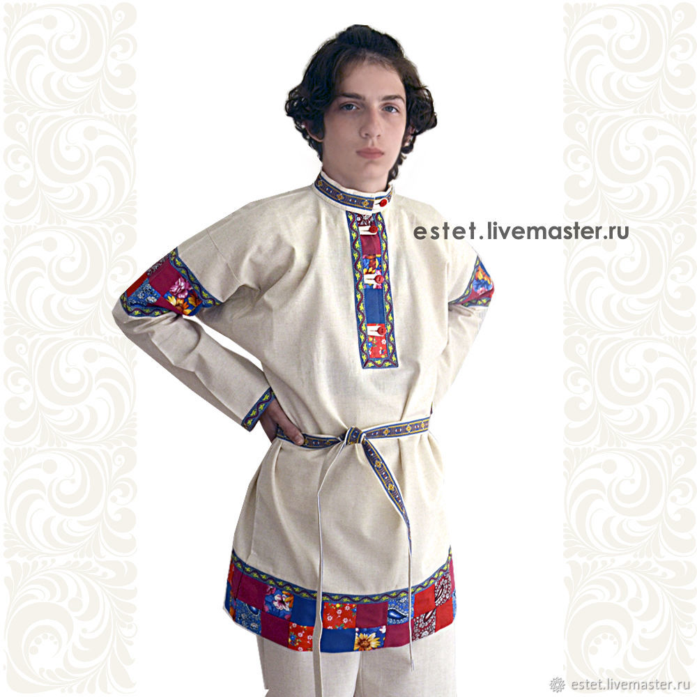 """Linen shirt for boys and men """"Rodion"""", Slavic style, Mens sweaters, Korolev,  Фото №1"""