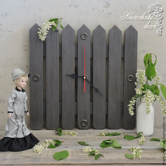 Часы для дома ручной работы. Ярмарка Мастеров - ручная работа. Купить Часы Графитовый забор. Handmade. Темно-серый, из дерева