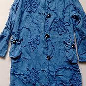 Одежда ручной работы. Ярмарка Мастеров - ручная работа Плащ из варёного льна с бахромой. Handmade.