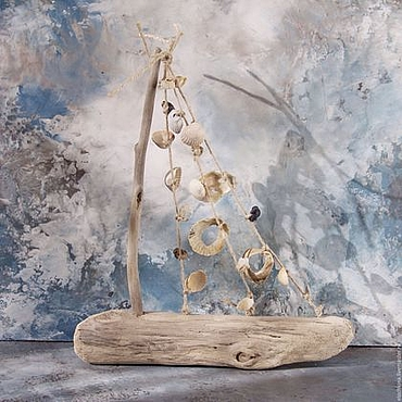 Для дома и интерьера ручной работы. Ярмарка Мастеров - ручная работа Кораблик из морских коряг и ракушек малый. Handmade.