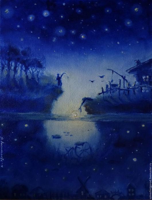 """Фантазийные сюжеты ручной работы. Ярмарка Мастеров - ручная работа. Купить Картина маслом """" Голубая ночь. Охота на звезду"""". Handmade."""