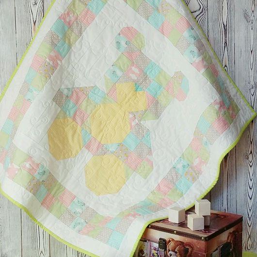 Детское лоскутное одеялко Мишка