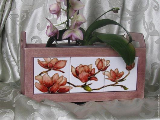 """Корзины, коробы ручной работы. Ярмарка Мастеров - ручная работа. Купить ящик для  цветов """"Магнолия"""". Handmade. Комбинированный, ящик для цветов"""