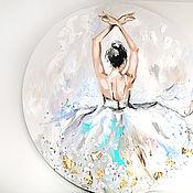 handmade. Livemaster - original item Pearl turquoise-texture painting with a ballerina. Handmade.