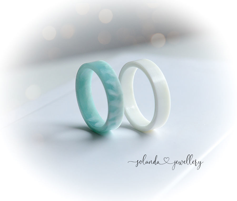 Epoxy resin rings 'Clouds' Set of two rings, Rings, Moscow,  Фото №1