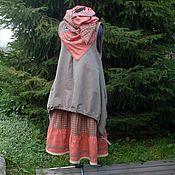 Одежда ручной работы. Ярмарка Мастеров - ручная работа № 138 Льняной комплект юбка+сарафан+палантин. Handmade.