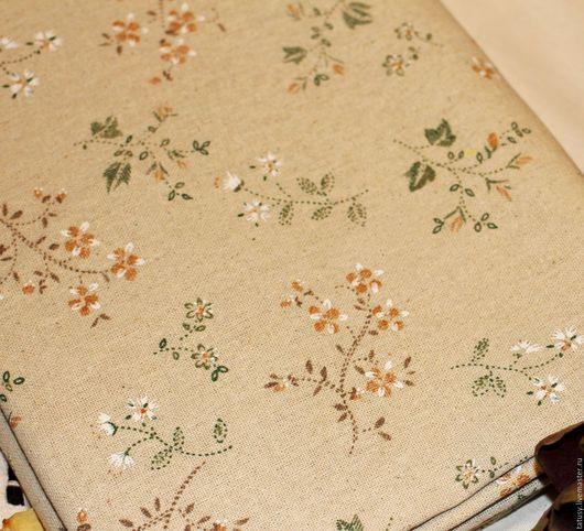 Шитье ручной работы. Ярмарка Мастеров - ручная работа. Купить Ткань лен хлопок  Цветочное поле (винтаж, прованс,ретро,кантри)). Handmade.